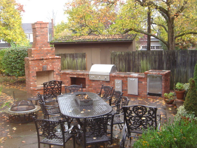 Outdoor Fireplace With Outdoor Kitchen Traditional