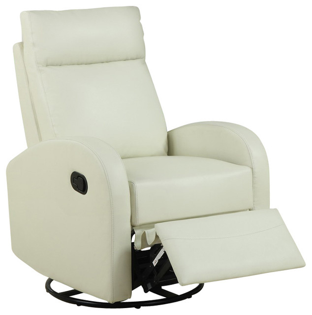 Monarch Specialties Swivel Rocker Recliner Chair in Ivory - Contemporary - Rocking Chairs