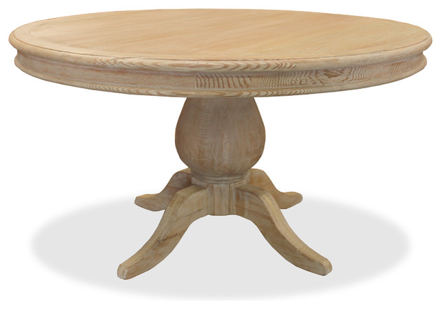 "Luke 60"" Round Reclaimed Wood Table, White Washed Finish ..."