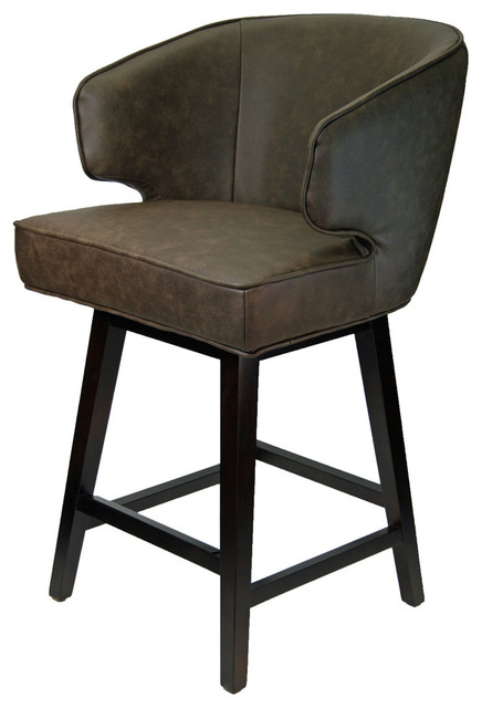 Curved Wing Back Swivel Counter Stool In Distress Brown