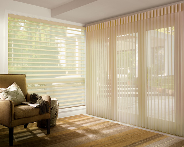 Luminette with Wand/Cord System contemporary-vertical-blinds