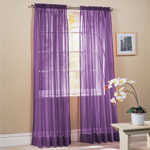 2-Piece Solid Lavender Purple Sheer Window Curtains modern kids decor