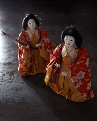 Two Japanese Court Lady Dolls traditional-accessories-and-decor