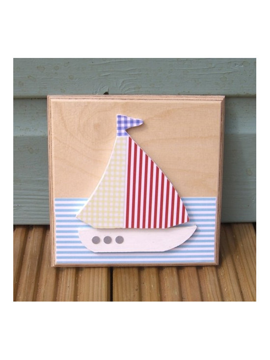 Little Boat Plaque - This picture is a unique design of our own, ready to ship. We have created this lovely art work using MDF shapes, good quality scrapbook paper, beautiful wallpaper and any other gorgeous papers we can get our hands on!