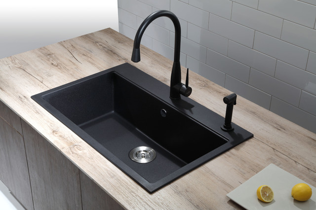 Single Bowl Black Onyx Granite Kitchen Sink. - Modern - Kitchen Sinks ...