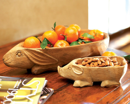 Wooden Piglet and Rabbit Bowls -