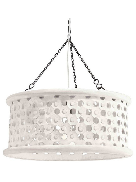 Arteriors Jarrod Small Pendant - Transitional 1-light hand carved wooden drum shade pendant in whitewash finish with tiny perforations for detail and texture. Topped with an interior mirror border allowing light to disperse downward and through the holes across the surface of the shade.