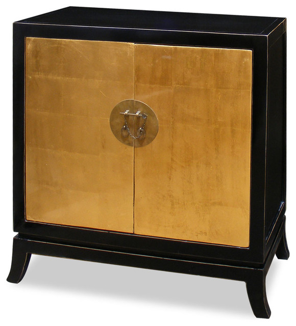 Gold Leaf Two Door Tang Cabinet Asian China Cabinets