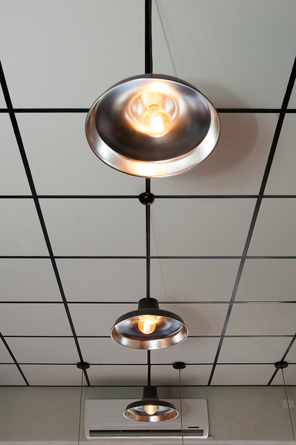 Coffee Shop Design In TLV Industrial Ceiling Lighting Tel Aviv . & Lighting Neo Industrial 17 In W Rubbed Bronze Vintage Pendant ... azcodes.com