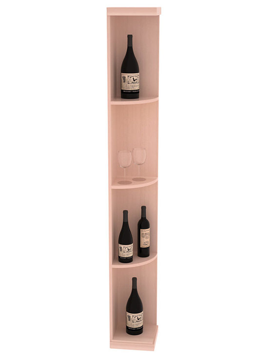 Quarter Round Wine Display in Redwood with White Wash Stain + Satin Finish - Highly decorative Quarter Round Wine Displays are the perfect solution to racking around corners. Designed with a priority on functionality, these wine storage units are excellent as end caps to walls of wine racking or as standalone shelving.