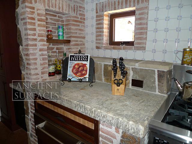 Antique Thick Limestone Countertops, AKA Foundation Slabs mediterranean-kitchen-countertops