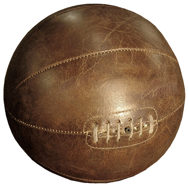 Silver dome Vintage Leather Basketball Tabletop Shelf Decor transitional-sculptures