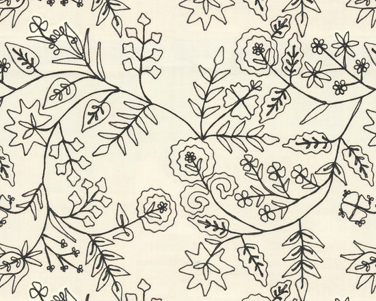 In Stitches : Black - Black stitch-embroidered floral fabric.
