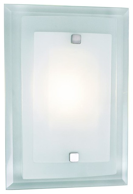 One Light Polished Chrome Clear Wall Plate Frosted Cover Glass Wall Liight transitional-wall-sconces