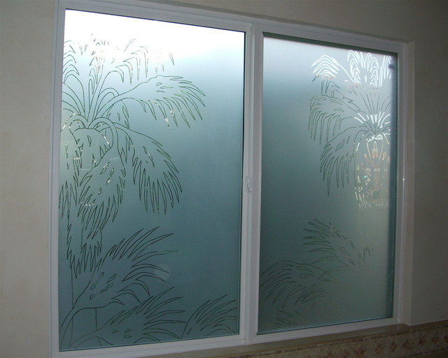 Palm fronds bathroom windows frosted glass designs