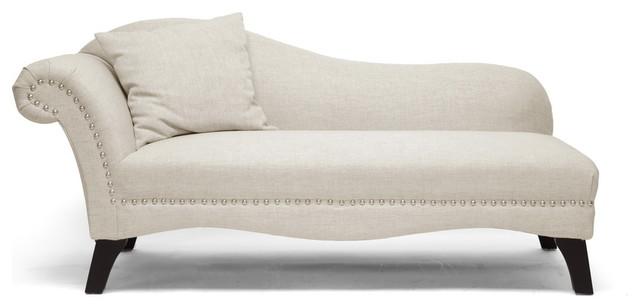 Baxton Studio Phoebe Beige Linen Modern Chaise Lounge