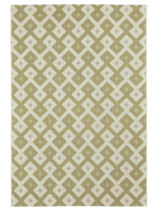 """Finesse Diamond rug in Celery - An esteemed """"Capel Anywhere"""" rug collection woven on precision machine looms in Europe. These versatile rugs can be used in high traffic areas indoors - like kitchens and sunrooms - or to dress up covered porches and decks outside."""