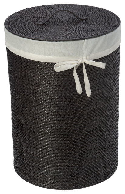 Round rattan hamper with liner espresso contemporary hampers other metro by kouboo - Wicker hamper with liner ...