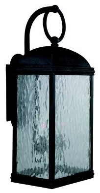 Sea Gull Branford Outdoor Wall Lantern - 22.5H in. Obsidian Mist modern-outdoor-lighting