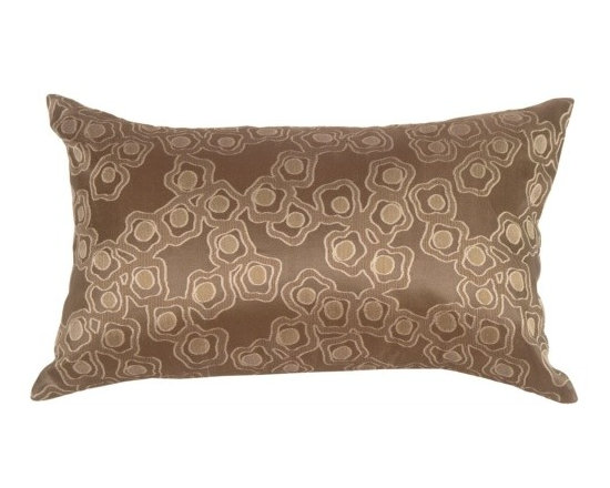 Pillow Decor - Pillow Decor - Chain in Taupe Silk Accent Pillow - Very chic and contemporary, the pattern on this pillow resembles a broken flower chain, or floating petals. It will add a soothing touch to your modern decor.