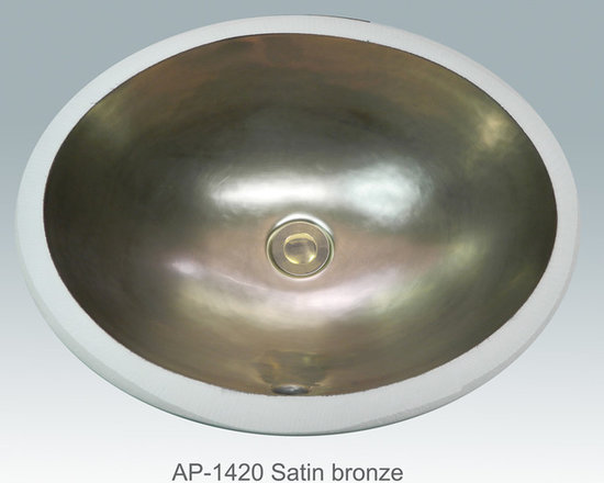 "Hand Painted Undermounts by Atlantis Porcelain - ""SATIN BRONZE"" Shown on AP-1420 white Monaco Medium undermount 17-1/4""x14-1/4"". Available on burnished gold or platinum on any of our sinks."
