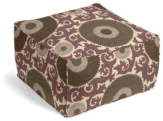 Purple & Gray Giant Suzani Custom Pouf mediterranean-floor-pillows-and-poufs