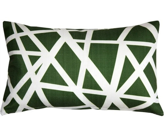 "Pillow Decor - Pillow Decor - Bird's Nest Green Throw Pillow 12X20 - This versatile geometric accent pillow is both modern and elegant. The bold bird""s nest pattern featuring dynamic white stripes on a forest green background will add contemporary flair to your home decor. The Bird's Nest Throw Pillow is a great addition to any contemporary designed room. The pillow is perfect as a standalone accent piece or can be used to creatively tie in other decor pieces such as abstract art objects. The bird""s nest design is printed on both sides on an indoor/outdoor spun polyester fabric."