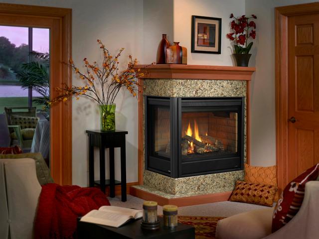 Heatilator corner gas fireplace contemporary indoor for Indoor corner fireplace