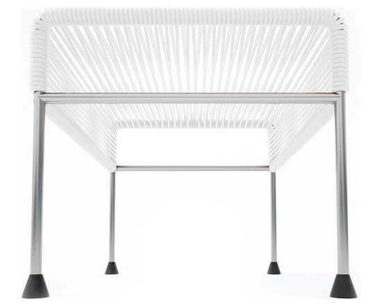 Adam Ottoman, Chrome Frame With White Weave - Sleek woven vinyl makes this coffee table stand out from the crowd. It's a great option for indoor and outdoor entertaining since the vinyl is UV protected and the metal base is galvanized. The only challenge would be deciding on your favorite color top to pair with the sleek chrome base.