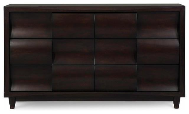 Magnussen Fuqua Wood 6 Drawer Dresser In Black Cherry
