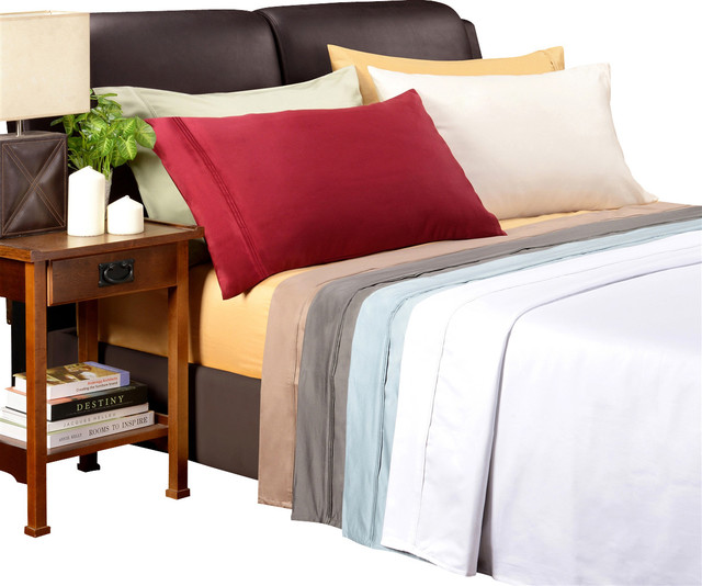 Egyptian Cotton 1500TC Solid Sheet Set traditional-sheets