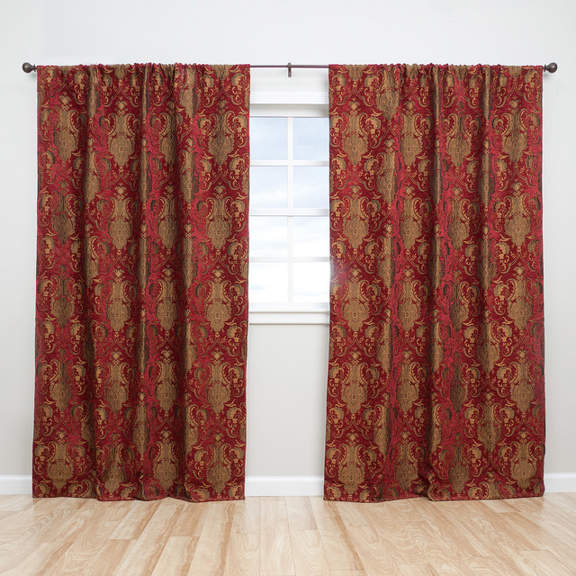 Sherry Kline Luxury China Art Red 84-inch Curtain Panel Pair - Contemporary - Curtains - by ...