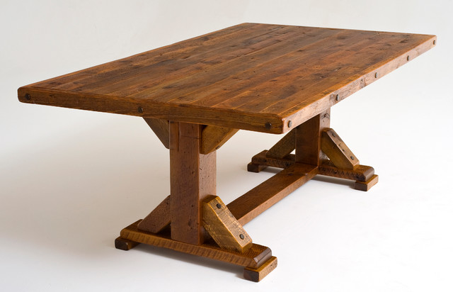 Reclaimed Wood Trestle Dining Table Rustic