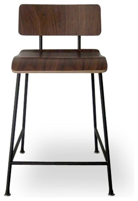 Gus Modern School Stool Black Frame Walnut Finish