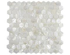 White Hexagon Pearl Shell Tile contemporary-tile