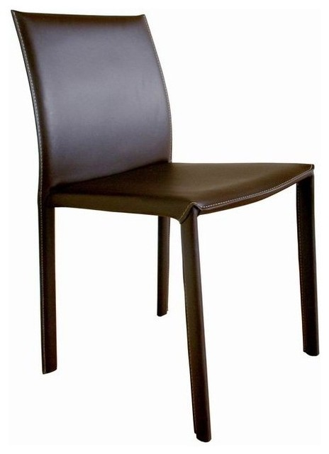 Wholesale interiors brown bonded leather arm less dining for Dining chairs for less