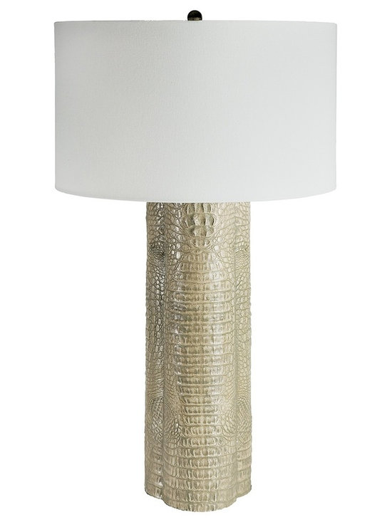 """Regina Andrew - Regina-Andrew Light Gray Croc Clover Table Lamp - Topped with a soft-colored lamp shade this tall table lamp will complement any space. The light gray color is enhanced by the textured crocodile skin texture. Perfect for any space in your home or office. Tall table lamp. Light gray faux-crocodile skin base design. Natural linen lamp shade. Maximum 150 watt or equivalent bulb (not included). 3-way switch. Shade measures 18"""" across the top and bottom 11"""" high. 18"""" wide. 32"""" high.   Tall table lamp.  Light gray faux-crocodile skin base design.  Natural linen lamp shade.  Maximum 150 watt or equivalent bulb (not included).  3-way switch.  Shade measures 18"""" across the top and bottom 11"""" high.  18"""" wide.  32"""" high."""