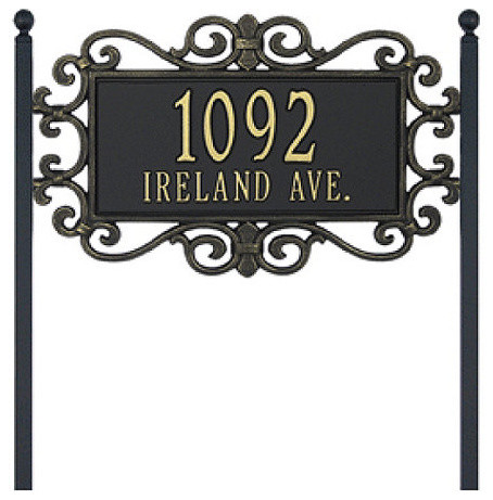 Scrolled Two Line Standard Lawn Address Sign traditional-house-numbers