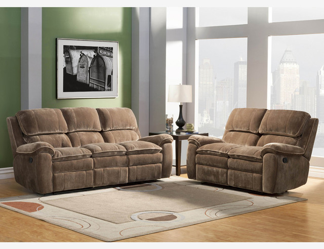 Brown microfiber dual reclining sofa loveseat tufted - Microfiber living room furniture sets ...