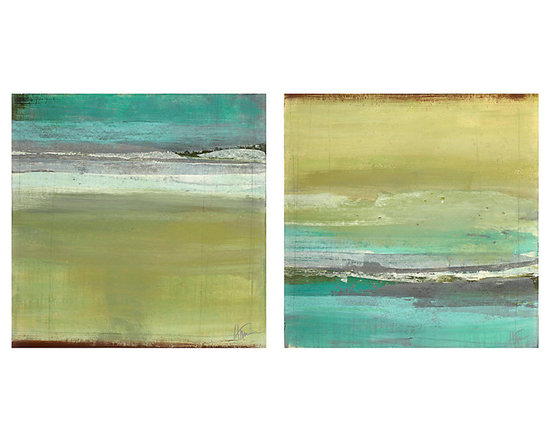 Ballard Designs - Sand and Sea Stretched Canvas - Fine art giclee reproduction on canvas stretched over wood frame. Hand applied acrylic finish produces the texture of the original. Horizontal layers of soothing color create an abstract image of sand and sea that adds a little serenity to your surroundings. By artist Maeve Harris, our reproduction is digitally printed on gallery-wrapped canvas. A gel finish is applied by brush to recreate the texture of the original.Stretched Canvas features:. . Glass Coat Canvas features:. Epoxy, resin-based glass coat application produces a smooth and glossy, glass-like finish. Durable and protective finish acts as a moisture-resistant protective sealer, protecting from warping or sagging, ensuring the lasting beauty of the artwork.
