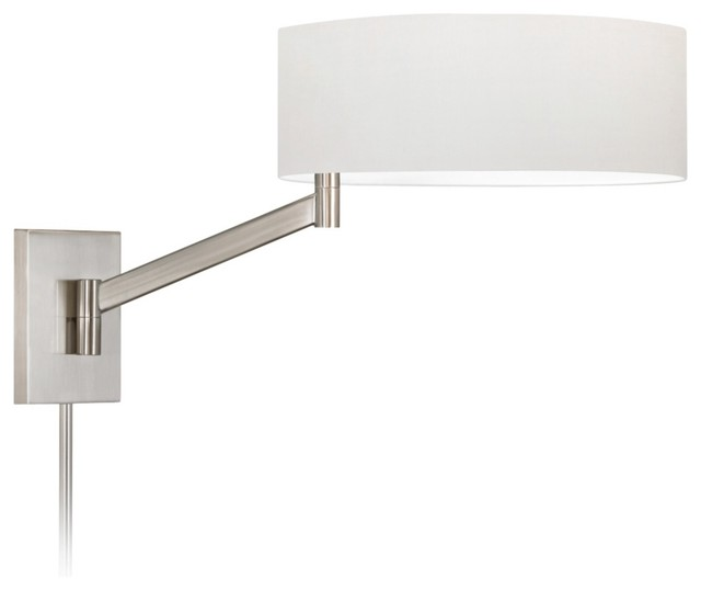 Sonneman Perch Plug-In Satin Nickel Swing Arm Wall Lamp - Contemporary - Swing Arm Wall Lamps