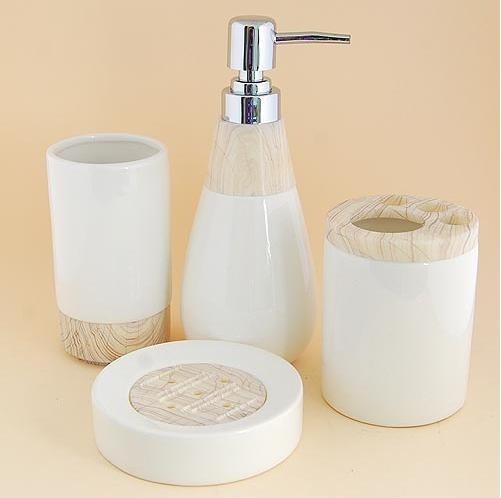 Wood Grain Pattern Ceramic Bath Accessory Set Modern