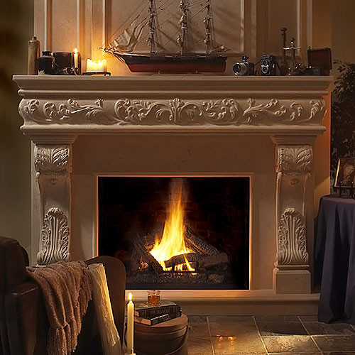 Venetian Stone Fireplace Mantel traditional-indoor-fireplaces