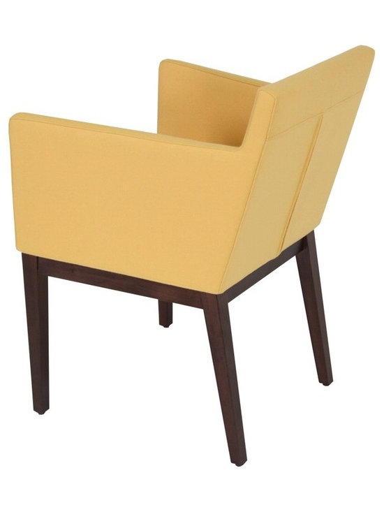 """Harput Wood Arm Chair by sohoConcept - Harput Wood is an armchair with a comfortable upholstered seat and backrest on solid walnut and wenge legs tipped with screwed plastic caps. Harput seat has a steel structure with """"S"""" shape springs for extra flexibility and strength. This steel frame molded by injecting polyurethane foam. Harput seat is upholstered with a removable Velcro enclosed Organic fabric, Leatherette, Geniune Leather and Camira wool slipcover which has a 5 year guarantee against wear and tear. Harput collection is suitable for both residential and commercial use."""