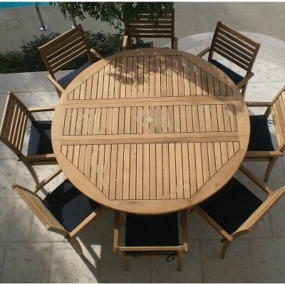 Royal Teak 72 In Round Dropleaf Avant Patio Dining Set Seats 8 Modern