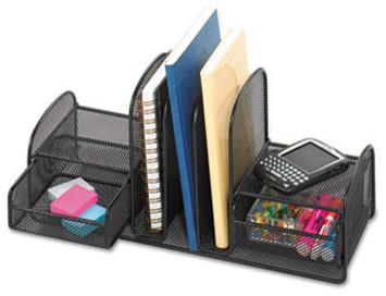 Onyx Mesh Desk Organizer, Three Sections/Two Baskets, 17 X 6 3/4 X 7, Black contemporary