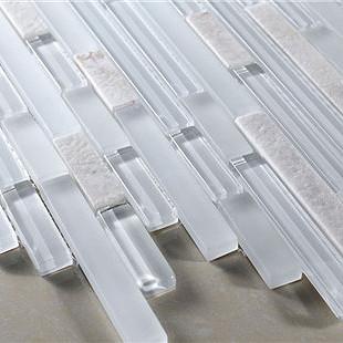 White crystal scrub stone strip glass mosaic r611 bathroom modern-wall ...