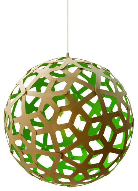David Trubridge Coral 400 Pendant Lamp- Green modern-pendant-lighting