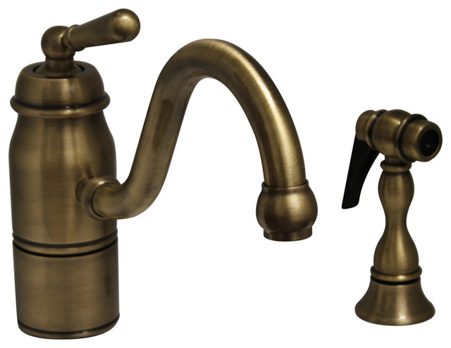 Beluga Lever Single Handle Faucet Curved Swivel Spout Solid Brass Side Spray