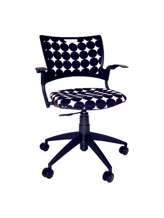 9 to 5 Seating - Task Chair in DwellStudio Fabric - Add wow to your workstation with this champ of a chair. Its stylish, dotted DwellStudio fabric is as durable as it gets, and with an upholstered seat and swivel/tilt motion, you'll be impressively productive at any task.